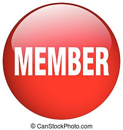 member red round gel isolated push button