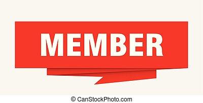 member sign. member paper origami speech bubble. member tag. member banner