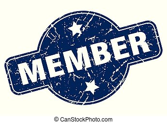 member sign - member vintage round isolated stamp