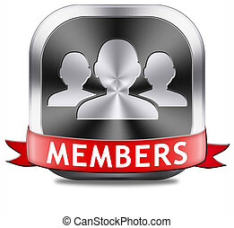 members button - members only restricted area icon sign or ...