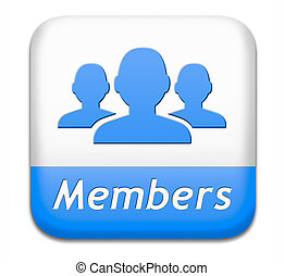 members button - members only restricted area icon sign or...