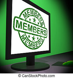 Members Computer Showing Membership Registration And Internet Subscribing