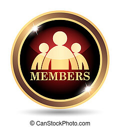 Members icon. Internet button on white background.