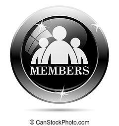 Members icon. Metallic internet button on white background....