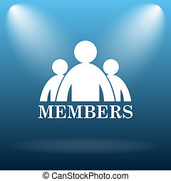 Members icon. Internet button on blue background.