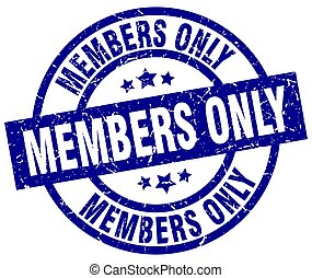members only blue round grunge stamp