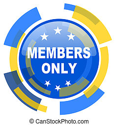 members only blue yellow glossy web icon