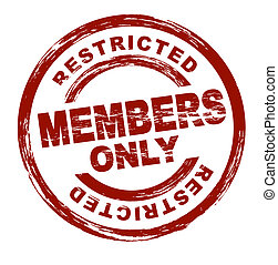 Members only - A stylized red stamp symbolizing a restricted...
