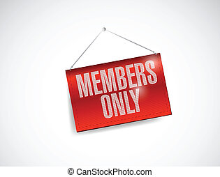 members only hanging banner illustration