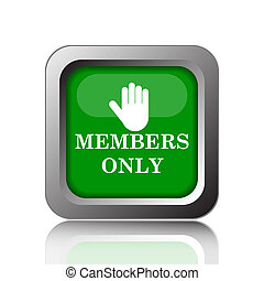 Members only icon. Internet button on black background.