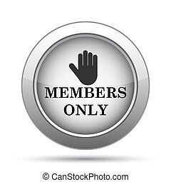 Members only icon. Internet button on white background.