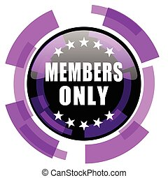 Members only pink violet modern design vector web and smartphone icon. Round button in eps 10 isolated on white background.