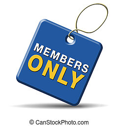 members only sign - members only icon sign or sticker become...