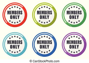 Members only vector icon set. Colorful flat design web icons on white background in eps 10.