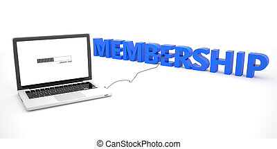 Membership - laptop notebook computer connected to a word on white background. 3d render illustration.