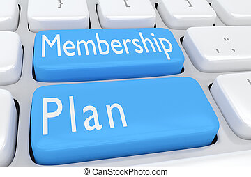 3D illustration of computer keyboard with the script 'Membership Plan' on two adjacent pale blue buttons