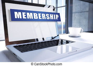 Membership text on modern laptop screen in office environment. 3D render illustration business text concept.