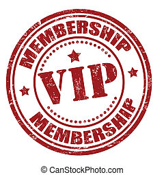 Grunge membership vip rubber stamp, vector illustration