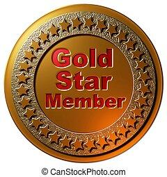 membre, étoile, or