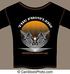 membre, club, motocyclette, t-shirt, gabarit