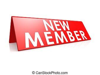 membre, nouveau, étiquette, rouges