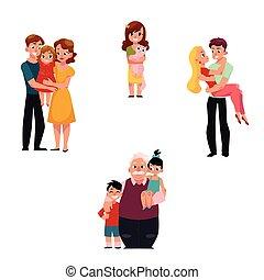 membres famille, étreindre, -, parents, enfants, petits-enfants, chouchou, aimer couple