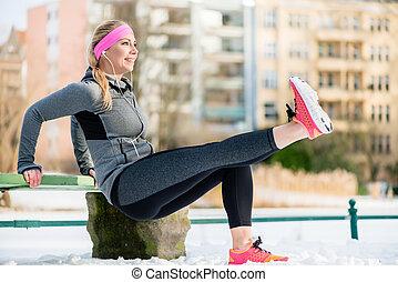 membres, femme, hiver, elle, étirage, sports, exercice