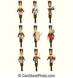 membres, instruments, armée, illustration, uniforme, bande, vecteur, arrière-plan noir, soldats, militaire, blanc, jouer, musical