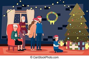 membres, pin, famille, célébrer, arbre, noël