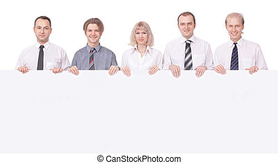 membri, affari, banner., squadra, grande, presa a terra, vuoto