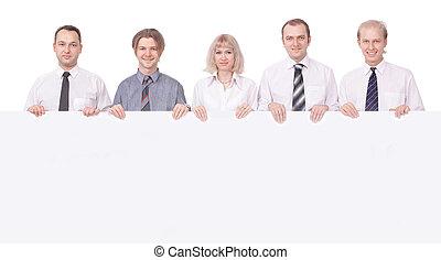 membri, di, il, squadra affari, presa a terra, uno, grande, vuoto, banner.