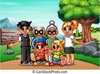 membro familiar, férias, feliz, parque