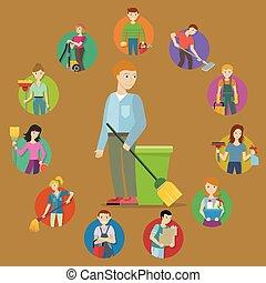 membro, pessoal, cobrança, serviço, limpeza