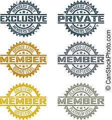membro, selos, vetorial