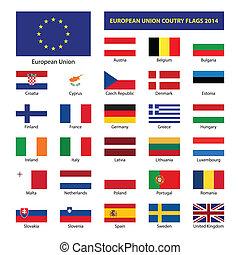 membro, unione, paese, stati, bandiere, eu, 2014, europeo