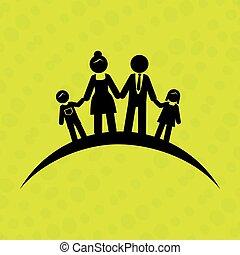 membros, de, a, família, desenho