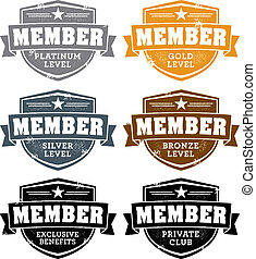 Distressed membership level badge stamps.