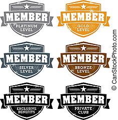 memership, nível, emblemas
