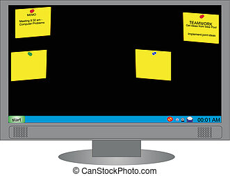 Memo Board - Computer Monitor with memo\'s stuck on screen...