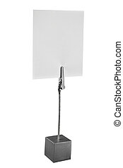Memo holder with blank card isolated on a white background