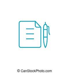 Memo linear icon concept. Memo line vector sign, symbol, illustration.