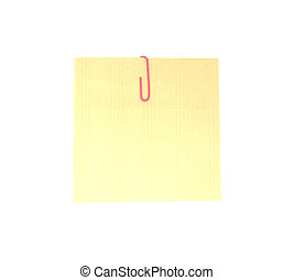Memo note with pink paper clip isolated on white background. Note pad reminder with clipping path