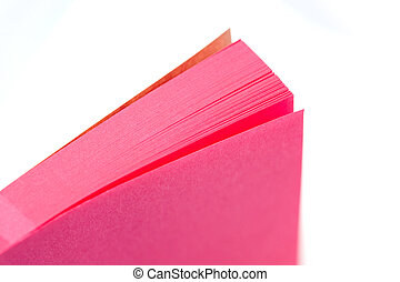 memo pad - pink paper memo pad closeup on white with narrow...