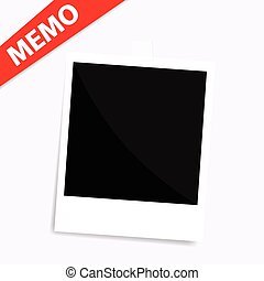 memo polaroid photo on wall isolated