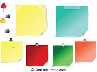 memo sheets - vector reminders papers