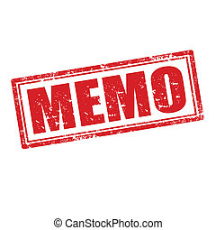 Memo-stamp - Grunge rubber stamp with word Memo,vector...