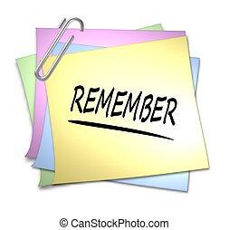 memorando, com, clipe para papel, -, lembrar