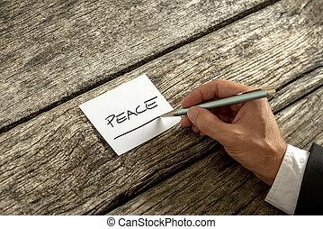 memorandum, concept, vrede, geschreven