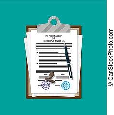 Memorandum of understanding document. - Clipboard with...