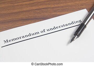 Memorandum of Understanding Letter at wooden board